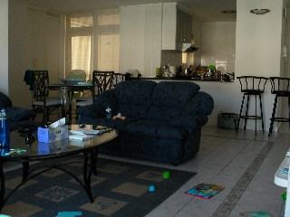 This is our living room/kitchen/dining area. (Asher's nursery is through the doors at the back)