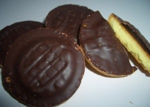 In case you're not from the UK, these are Jaffa Cakes! A lovely mess if eaten 'properly.'